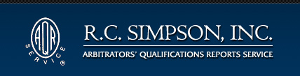 R.C. Simpson, Inc. | Arbitrator's Qualifications Reports Service